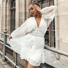 Sexy Plunge V Neck Women's 2020 Spring Summer Dress White Lace Long Sleeve Mini Party Dress Ruffle Elegant Clothing