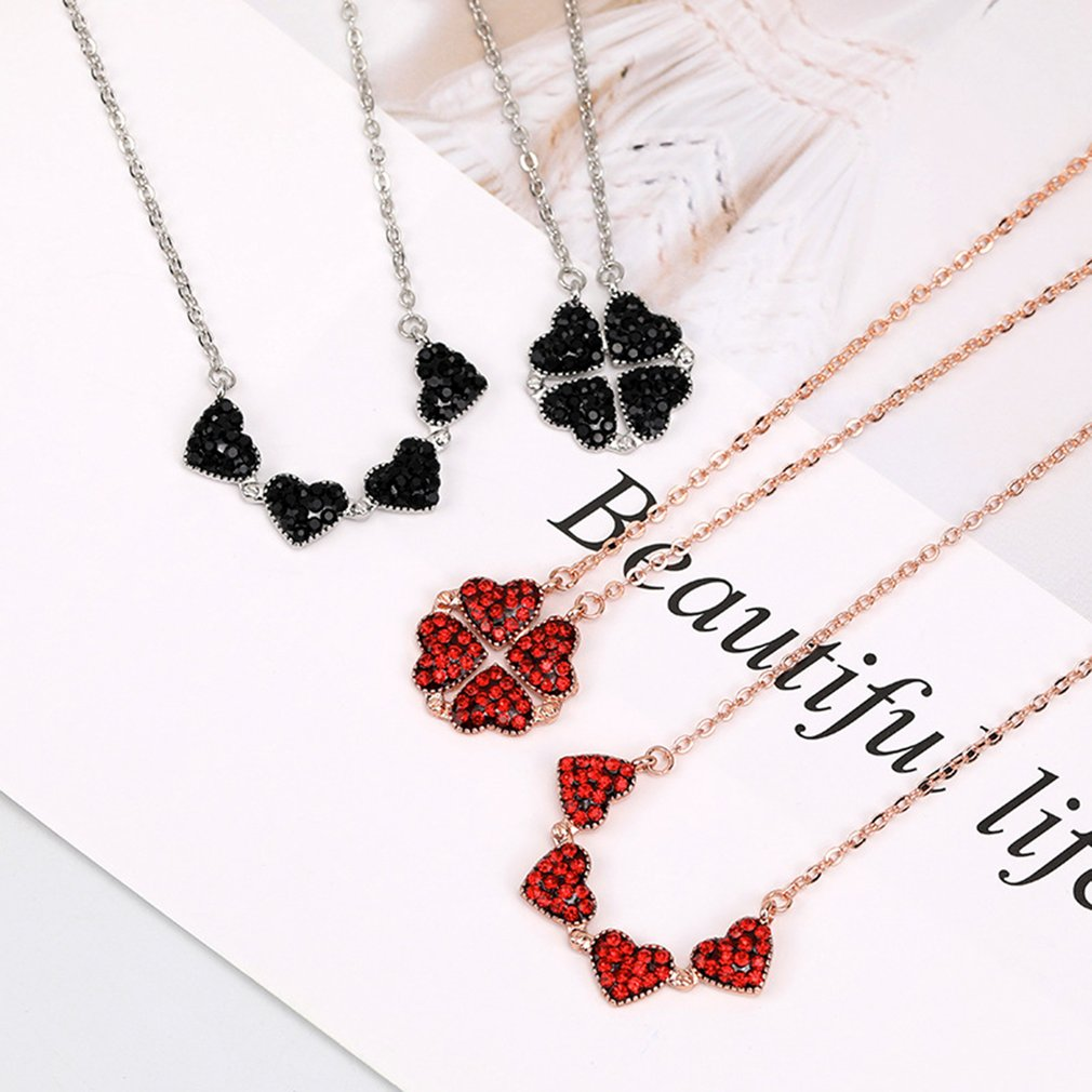 Dropship New Women Girl 925 Sterling Silver Fashion Red Blue Double Side Four Leaf Clover Necklace Heart Love Folding Necklace