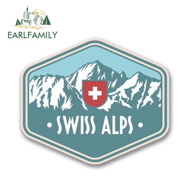 EARLFAMILY 13cm X 9cm Swiss Alps Switzerland Vinyl Car Sticker Travel Luggage Mountains Ski Surf Skateboarding Hip Hop Decals
