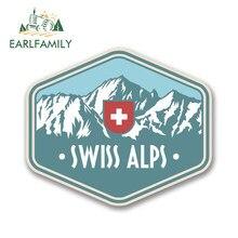 EARLFAMILY 13cm x 9cm suisse alpes suisse vinyle autocollant de voiture voyage bagages montagnes Ski Surf planche à roulettes Hip Hop décalcomanies