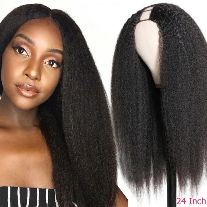 Perruque u-part Wig sans colle brésilienne Remy, cheveux naturels crépus lisses, pour femmes noires, perruque Maxine en forme de U moyenne peut être Permed