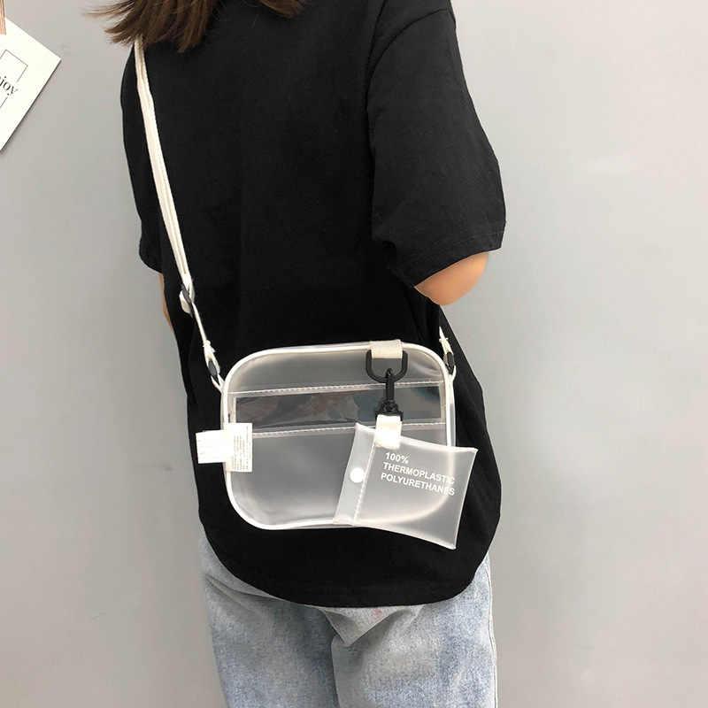 Rahat PVC şeffaf şeffaf kadın Crossbody çanta omuzdan askili çanta çanta jöle küçük telefonu çanta ile kart tutucu geniş sapanlar Flap