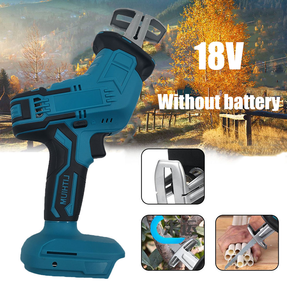 18V With LED Lights Multi-bearing Linkage Wood Cutting Portable Wood Cutting Machine Chainsaw Without Battery For Makita