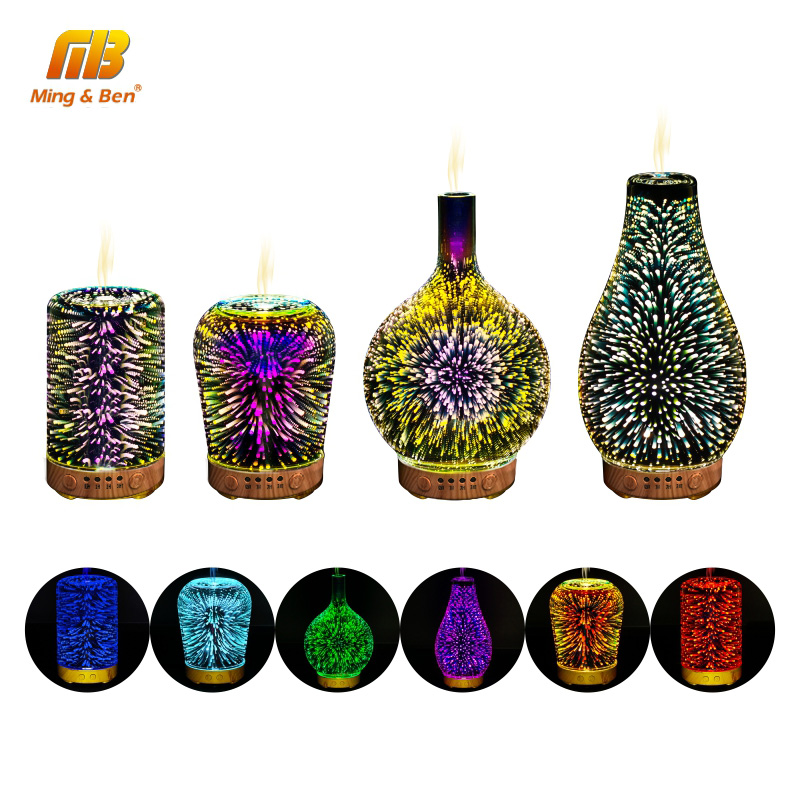 Night Light Mist Ultrasonic Sprayer Aromatherapy Air Humidifier 3D Colorful LED Fireworks Aroma Diffuser