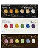 Japan ZIG Kuretake GANSAI TAMBI Starry/Pearl/Gem Watercolor Metallic Gold Paints 6 Colors Set Painting Supplies
