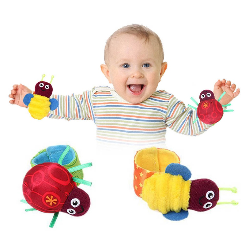2pcs/set Rattle Set Baby Kids Sensory Toys Foot-finder Socks Wrist Rattle Bracelet Gift Baby Shake Cute Hand Bell Ring Noise