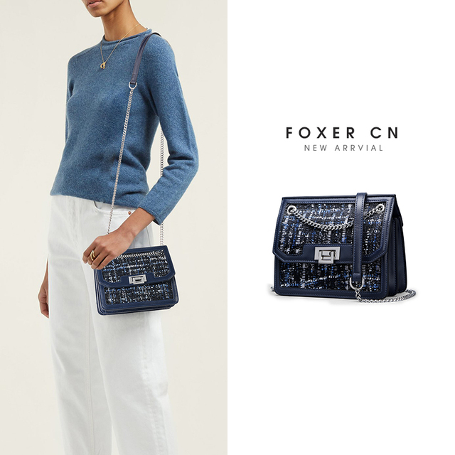 FOXER Brand Designer Women Shoulder Bags Female Flip Bag New Fashion Crossbody Bag Chain Strap Ladies Small Messenger Bags