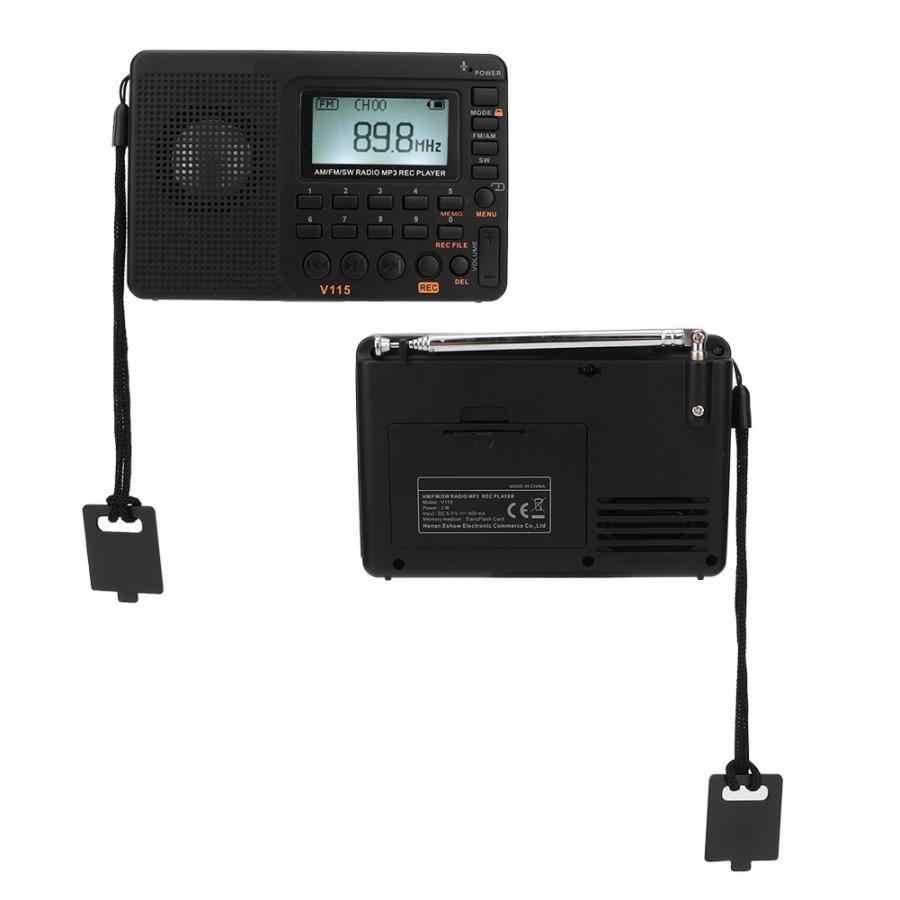 Draagbare Radio Ontvanger Alle Band FM AM SW Ontvanger Digitale Lcd-scherm Radio Oplaadbare Batterij MP3 Speler Functie