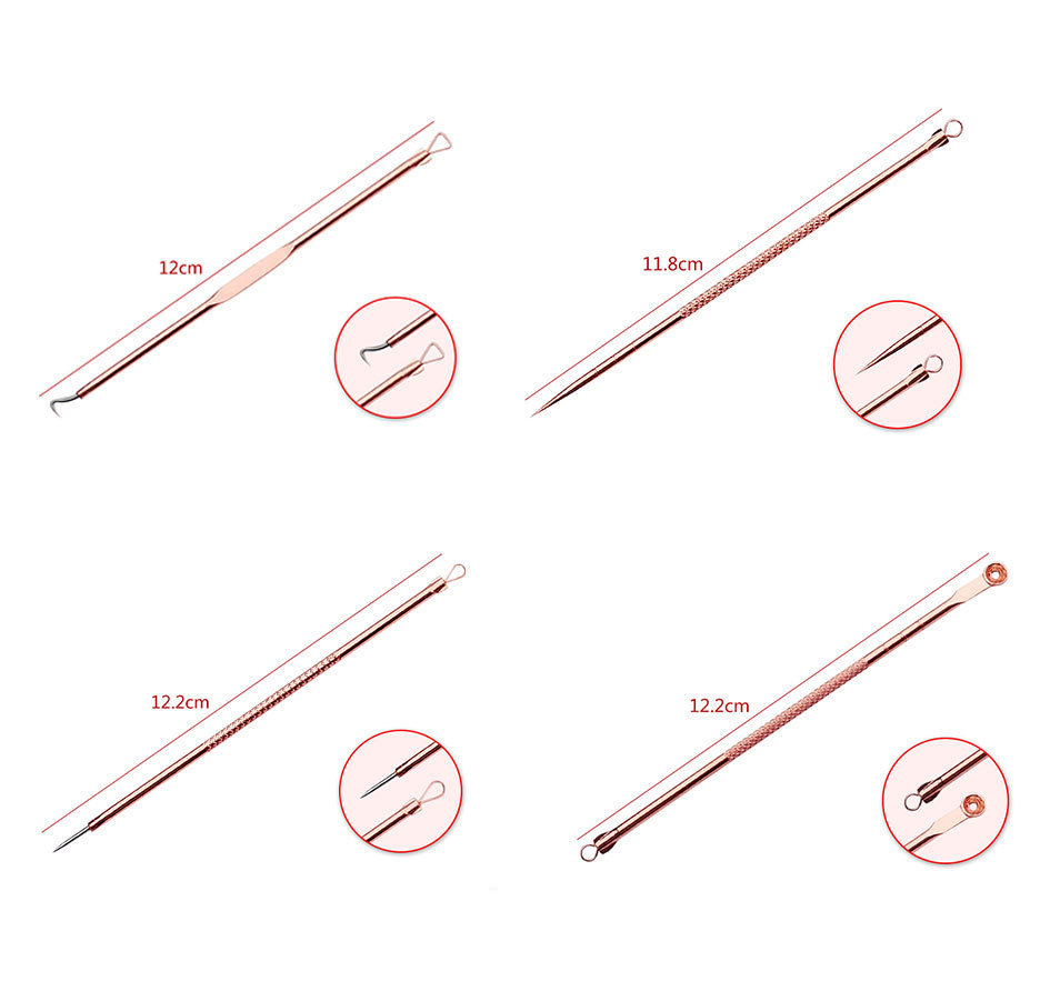 4Pcs Face Cleaner Rose Gold Stainless Steel Acne Blackhead Needle Set Facial Acne Remover Pick Health and Beauty Skin Care Tools 3