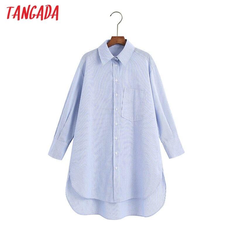 Tangada 2021 mujeres a rayas de clásico de camisa de cuello de manga larga Mujer Chic Casual Tops Blusas 6Z62