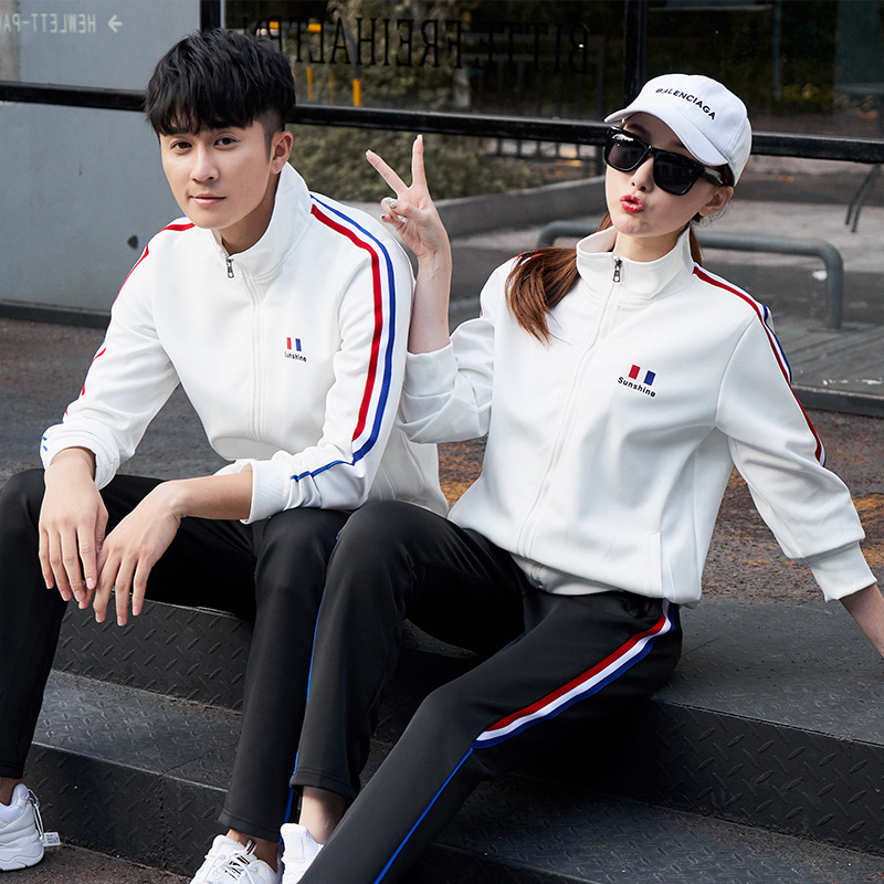 Sports Set Men's Spring And Autumn Couples Sports Leisure Suit Men And Women Students Sports Clothing Coat