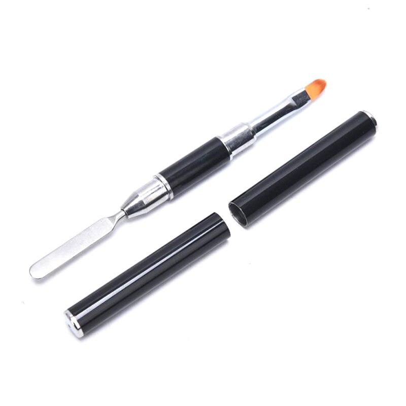 Двусторонний двухсторонний инструмент для ногтей 2 в 1, ручка для ногтей, кисть и сборщик геля из нержавеющей стали, цветная Цветочная Кисть, ...