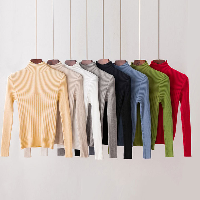 GUMPRUN Women Knitted Turtleneck Sweater Long Sleeve Casual Soft Sweater 2019 New Fall Winter Fashion Slim Elasticity Pullover