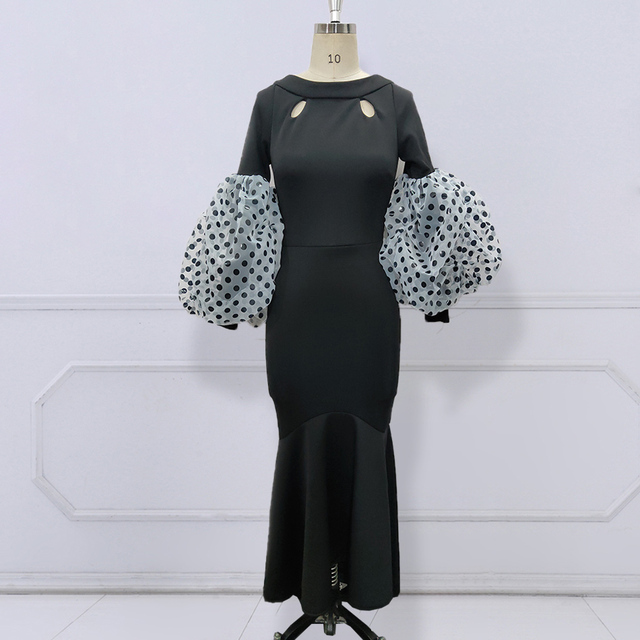 Black Maxi Party Dress Long Puff Sleeves Polka Dot Hollow Out Sexy Event Occasion Women Elegant Celebrate Evening Night Robes 2