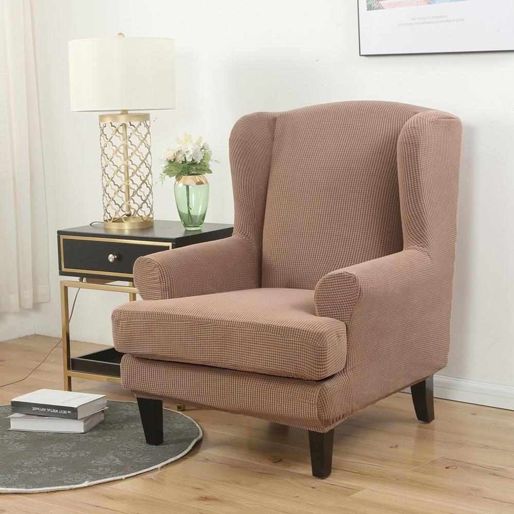 Wing Back Chair Cover Jacquard Spandex Stretch Slipcovers For Office Chairs Stylish 2 Piece Set With