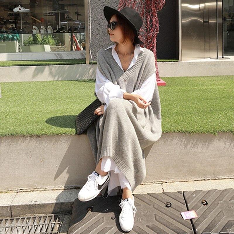Image 3 - Ciepłe szare sukienki swetrowe damskie Oversize bez rękawów Casual luźny, dzianinowy strój damski odzież do pracy biurowej długa sukienka Longue w Suknie od Odzież damska na