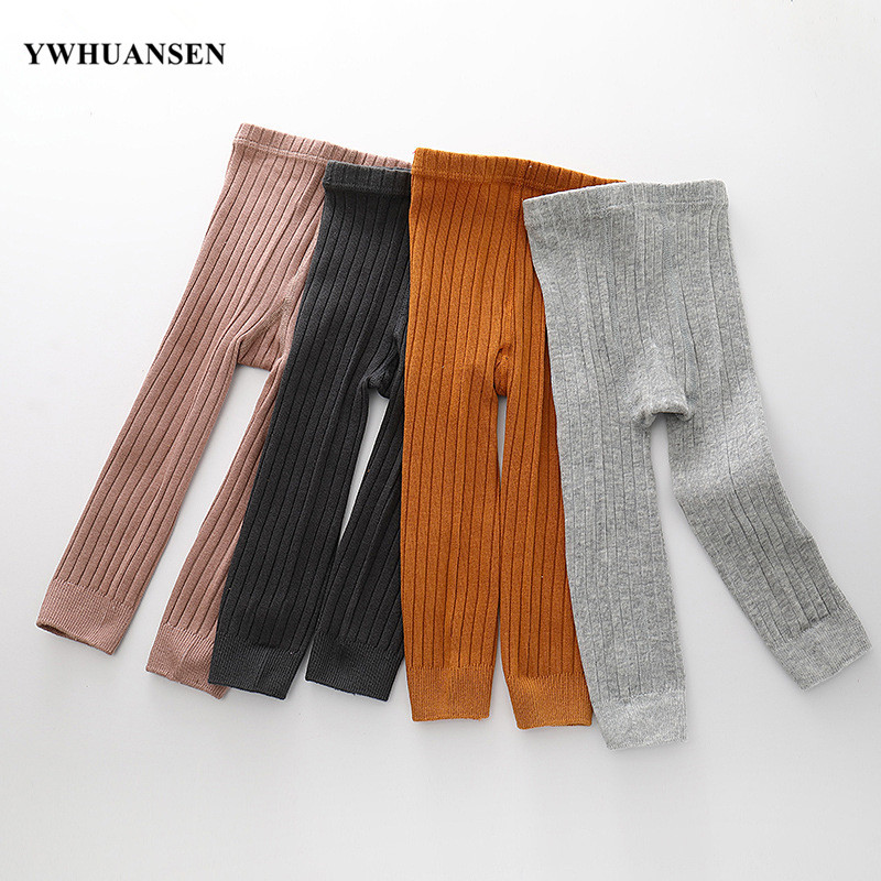 YWHUANSEN 0 To 8 Yrs Spring Autumn Double Needle Leggings Girl Combed Cotton Ribbed Leggings Baby Soft Lace Knitted Pant For Boy