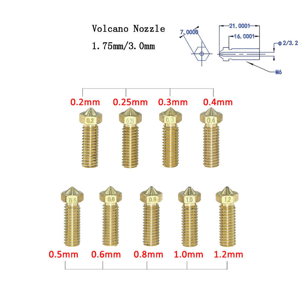 3D プリンタ真鍮火山ノズル M6 押出機ノズル 0.4/0.6/0.8/1.0/1.2 ミリメートル 1.75 /3 ミリメートルフィラメント 3D プリンタ部品