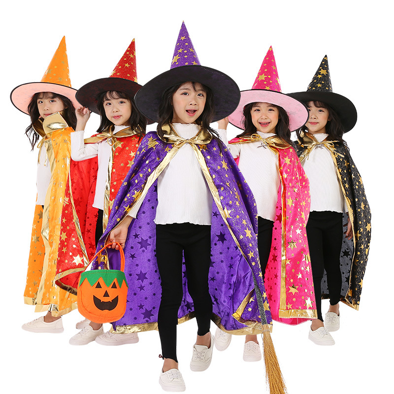 Children Halloween Costumes Wizard Witch Cloak Cape Robe With Pointy Hat Girls Boys Cosplay Kids Birthday Party Supplies
