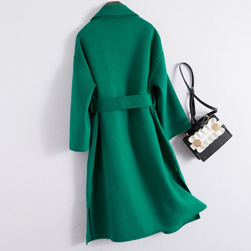 100% Wool Coat Female Fashion Ladies Both Side Cashmere Long Jacket + Belt Korean Elegant Slim Fit Wool Coat Hiver 11005