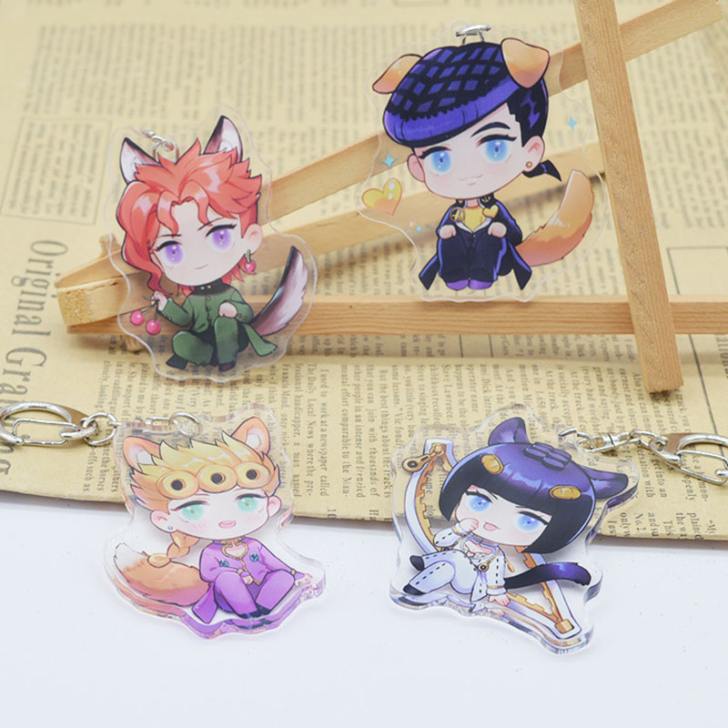 Anime Jojo Bizarre Adventure Keychain Cartoon Figure Cosplay Prop Acrylic Pendant Keyring Jewelry