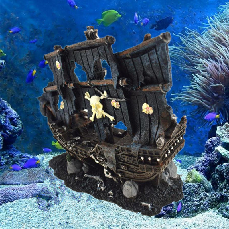 Artificial Aquarium Sunk Boat Decoration Fish Tank Ancient Wreck Ship Ornament Hiding Cave For Fish Shrimp Rock Acuarios Decor