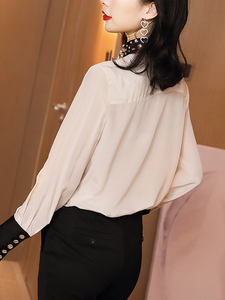 Image 2 - WHITNEY WANG Blouses 2020 Spring Fashion Elegant Diamonds Beading Collar Bow Blouse Women Blusas Office Lady Shirt Top