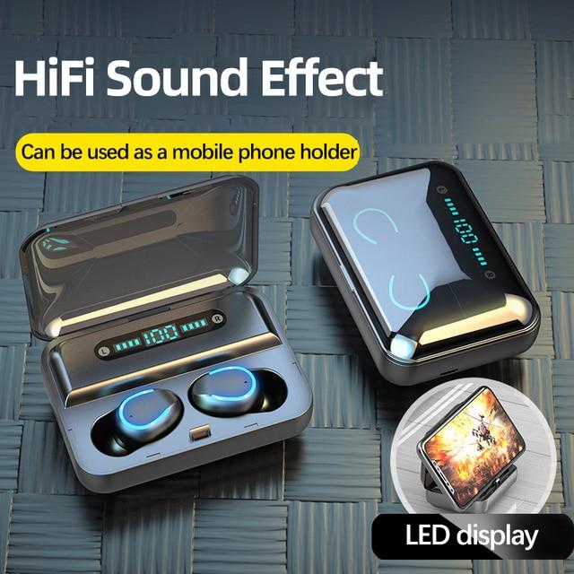 F9 5 Bluetooth 5.0 אוזניות TWS טביעת אצבע מגע אוזניות HiFI באוזן סטריאו אוזניות אלחוטי אוזניות עבור ספורט & משחקים