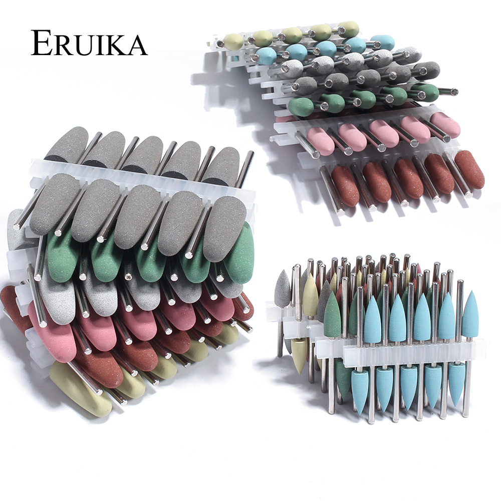 10pcs Silicone Nail Drill Bit Rubber Manicure Drills Electric Rotary Mills Cutter Cuticle Polishing Tools Nail Salon Accessories