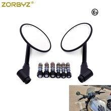 "ZORBYZ Black Motorcycle CNC Aluminum 4"" Retro Round Rearview Side Mirror E9 Mark For Honda Rebel Yamaha Fz1 Xsr700 Xsr900"