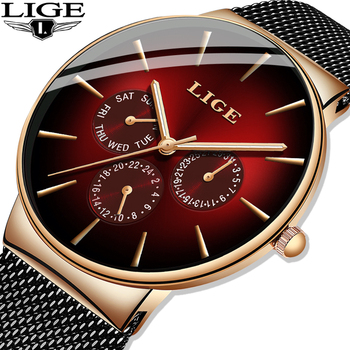 LIGE New Fashion Mens Watches Top Brand Luxury Quartz Watch Men Mesh Steel Waterproof Ultra-thin Wristwatch For Men Sport Clock dom men watches top brand luxury quartz watch casual quartz watch black leather mesh strap ultra thin fashion clock male relojes