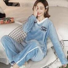 Зимние женские пижамные комплекты, пижамы, костюм для сна, Толстая теплая ночная рубашка, женская домашняя пижама с рисунком животных