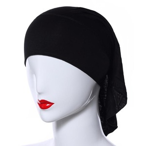 Hijab Femme Musulman Solid Color Slanted Hat 2020 New Women Fashion Soft Black Hijabs Headband Bonnet Hijab