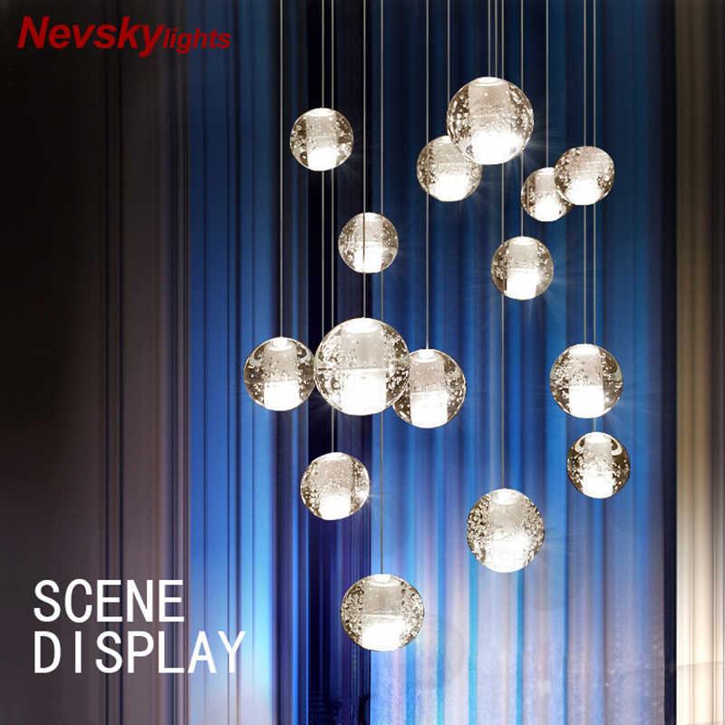 Светодиодные подвесные светильники на кулон лестницы подвесная лампа в спальню потолочная люстра в ванную led люстра потолочная стеклянный шар прикроватная подвесная лампа