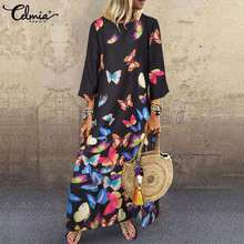 Long-Dress Party Maxi Vestidos Bohemian Casual Loose Autumn Fashion Women Print Celmia