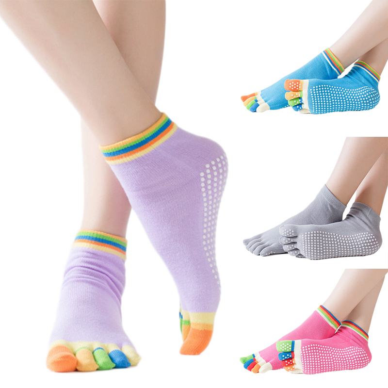 Women Anti-slip Yoga Socks Fingers Fitness Pilates Socks Gym Five Toe Sport Socks Colourful Elastic Cotton Five Fingers Socks