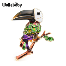 Wuli&baby Purple Green Woodpecker Bird Brooches Women Men Alloy Enamel Animal Banquet Brooch Pins Gifts