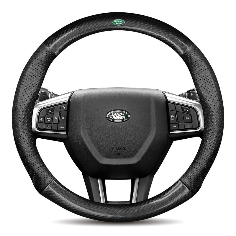 3D  Logo Cow Leather Car Steering Wheel Cover 15in Nonslip For Land Rover  Freelander Defender Discovery 3 Range Rover Evoque