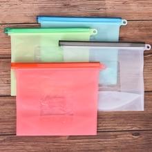 1 шт. 1000 мл многоразовая силиконовая пищевая сумка нулевой отходы пакет для продуктов со струнным замком сумка для хранения холодильник свежие сумки Организации