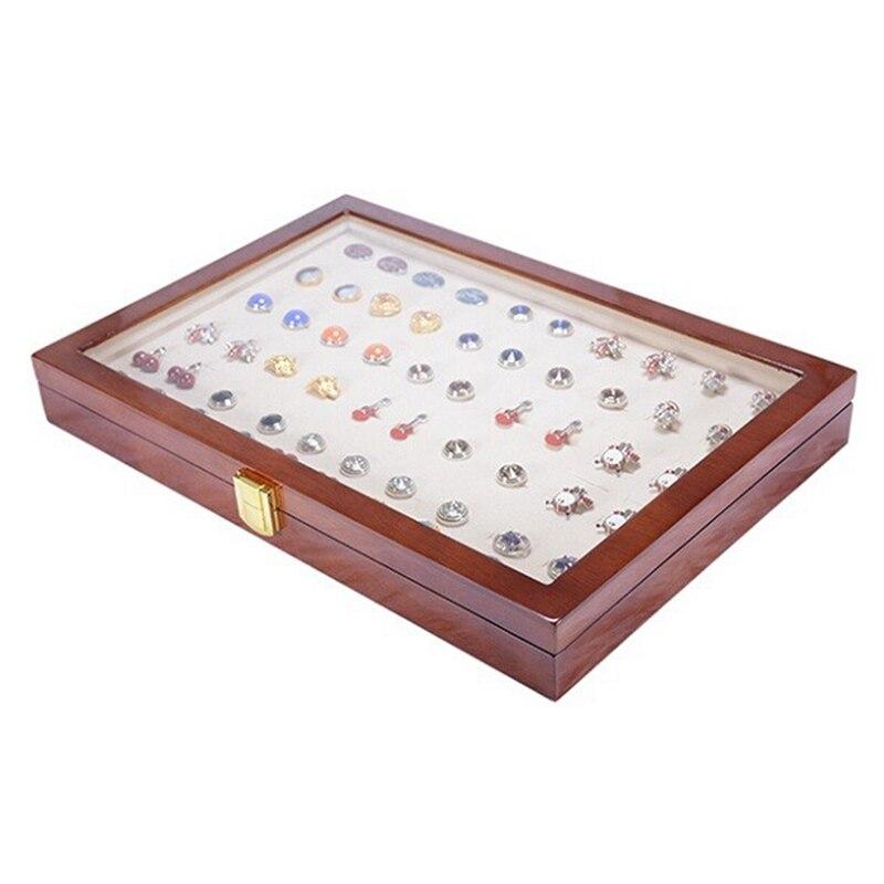ABSS-50 paires assemblage luxe verre couverture bouton de manchette stockage cadeau boîte en bois peint authentique bijoux présentoir boîte 350x240x5