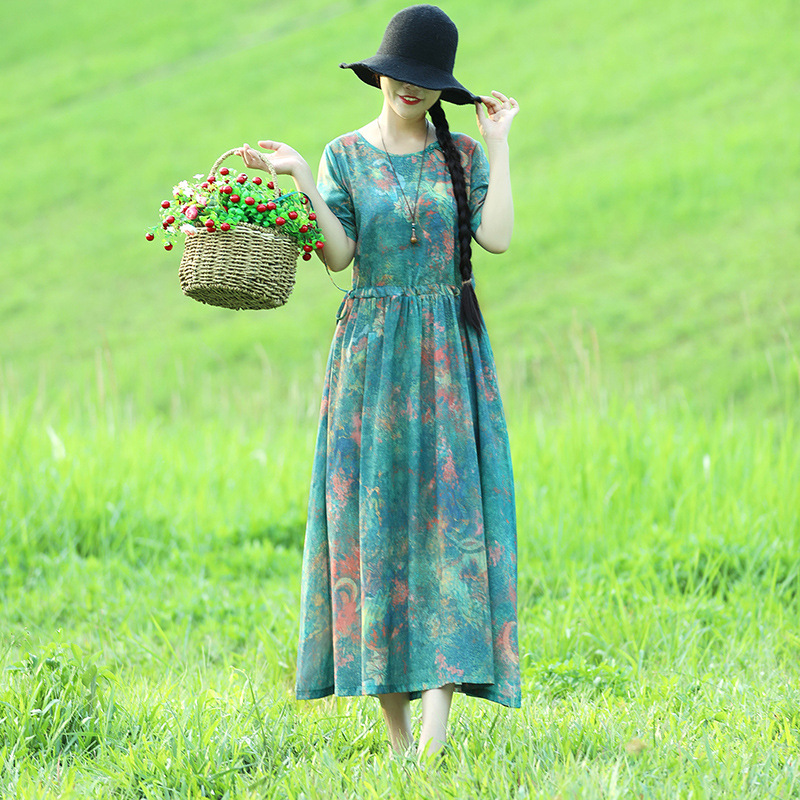 2018 National Wind Dress WOMEN'S Dress Summer New Style Loose-Fit Chinese-style Short Sleeve Cotton Linen Long Skirts