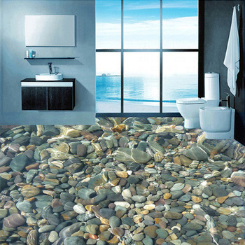 Custom Flooring Wallpaper 3D Lifelike Pebbles Living Room Bedroom Bathroom Floor Mural PVC Self-adhesive Wallpaper Wall Covering цена 2017