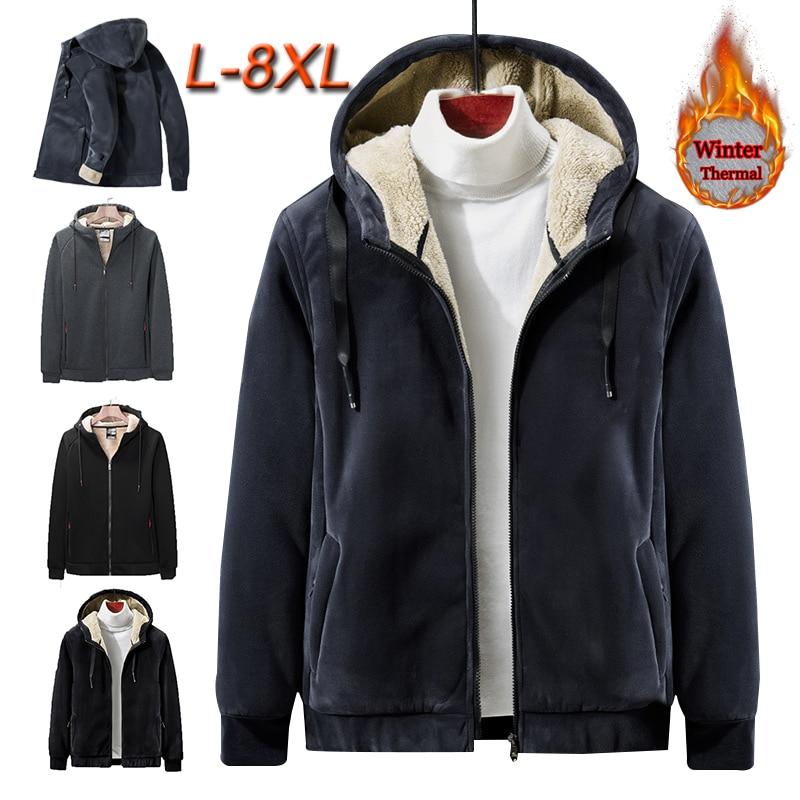 L-8XL Men Women Winter Plus Velvet Thicken Warm Coat Outdoor Sport Climbing Fishing Hiking Windproof Thermal Fleece Jacket