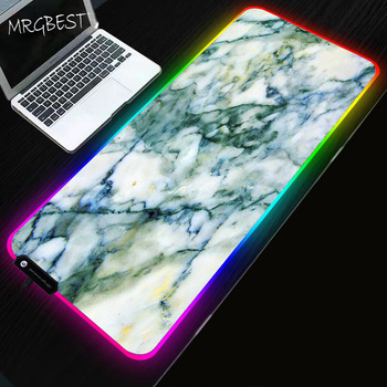 MRGBEST Cyan Marble Large Game RGB Mouse Pad Non-slip Natural Rubber Pc Computer Game LED Backlight Mousepad Table Mat Lock Edge mrgbest beautiful anime fantasy forest non slip and durable rubber computer lockedge mat cartoon printing large game mouse pad
