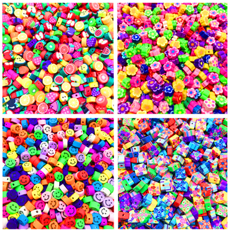 30pcs 10mm Fruit/Smiley/Animal Printing Beads Polymer Clay Beads Mixed Color Polymer Clay Spacer Beads For Jewelry Making DIY