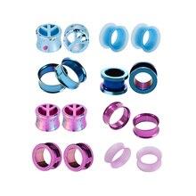 8pcs/set Acrylic Stainless Purple Blue Peace Shape Ear Expander Enlargement Fashion Earpin For Body Piercing Jewelry