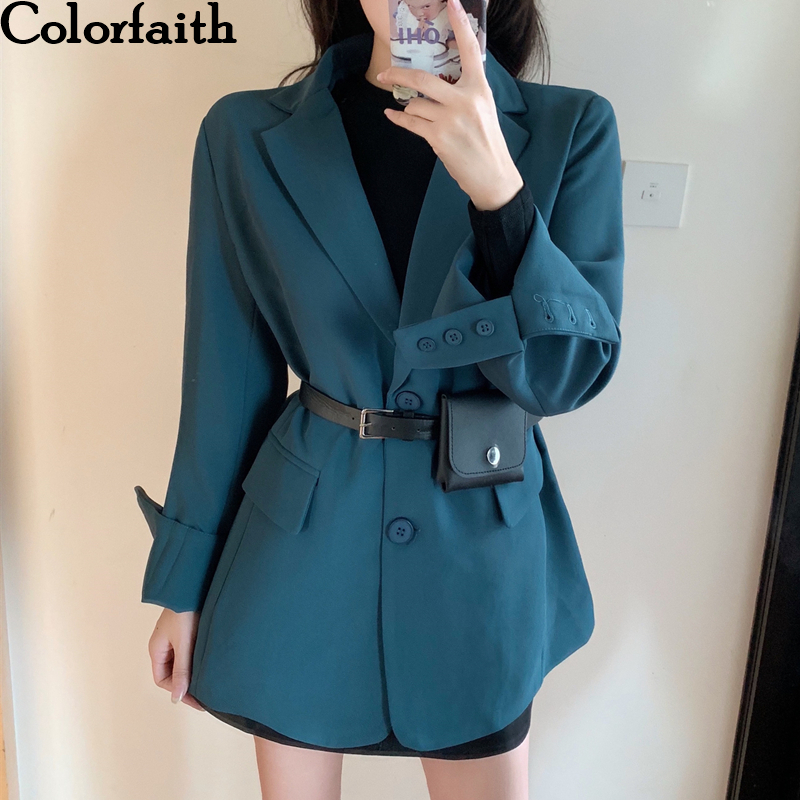 Colorfaith New 2019 Autumn Winter Women's Blazers Button Pockets Formal Jackets Notched Outerwear England Style Tops JK6527