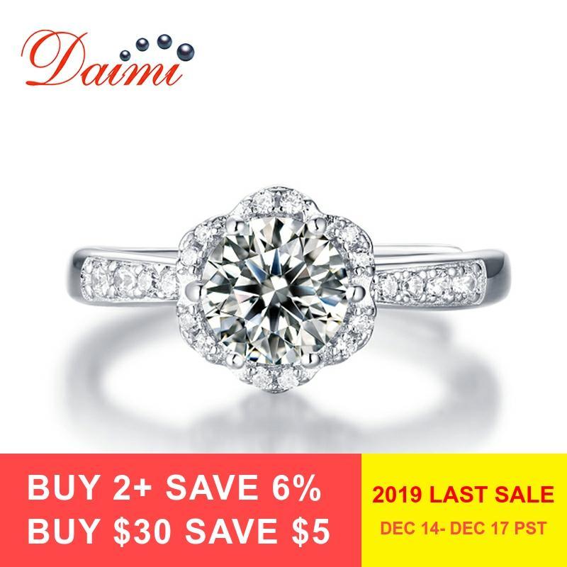 DAIMI Moisanite bague diamant 1 Carat/2 Carat D couleur luxe 925 bagues en argent Sterling pour femmes