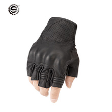 STAR FIELD KNIGHT Motorcycle Leather Half Finger Gloves Non slip Breathable Wearable Motorbike Moto Riding Fingerless Gloves