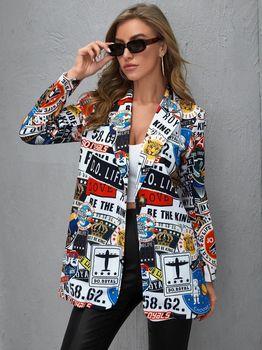 Vintage Letter Irregular Printing Blazer Women Jacket High Street Fashion Fall 2021 Plus Size Elegant Lady Coat American Stylish